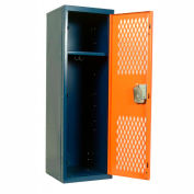 Hallowell HTL151548-1GR Home Team Locker, 1 Wide Unassembled, 15x15x48, Blue Body / Red Door