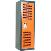 Hallowell HTL151548-1JH Home Team Locker, 1 Wide Unassembled, 15x15x48, Dark Blue Body / Orange Door