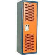 Hallowell HTL151548-1JH Home Team Locker, 1 Wide Unassembled, 15x15x48, Dark Blue Body / Orange Door