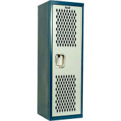 Hallowell HTL151548-1JP Home Team Locker, 1 Wide Unassembled, 15x15x48, Blue Body / Light Gray Door