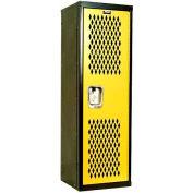 Hallowell HTL151548-1MT Home Team Locker, 1 Wide Unassembled, 15x15x48, Black Body / Yellow Door