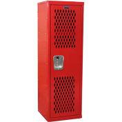 "Hallowell HTL151548-1RR Ventilated Home Team Locker Unassembled 15""W x 15""D x 48""H - Relay Red"