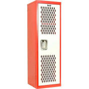 Hallowell HTL151548-1RS Home Team Locker, 1 Wide  Unassembled, 15x15x48, Red Body / White Door