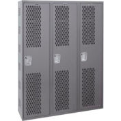 Hallowell HWBA212-111HG Welded Single-Point Ventilated Locker Single Tier 3 Wide - 12x12x72