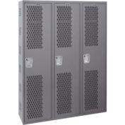 Hallowell HWBA882-111HG Welded Single-Point Ventilated Locker Single Tier 3 Wide 18x18x72 Dark Gray