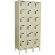 Hallowell UEL3258-6A-PT Assembled Electronic Access Locker Six Tier 3 Wide 12x15x12 - Tan
