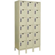 Hallowell UEL3288-6A-PT Assembled Electronic Access Locker Six Tier 3 Wide 12x18x13 - Tan
