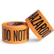 DQE® Barricade Tape, HAZARDOUS MATERIALS. DO NOT ENTER, 500 Ft Roll, Yellow