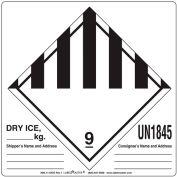 "LabelMaster® Labels w/ ""UN1845 Dry Ice"" Print, 6""L x 6""W, White & Black, Roll of 500"
