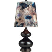 Dimond Lighting, 111-1099, Silverdale Table Lamp-Grey Luster Glass W/Butterfly Print Shade