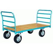 Platform Truck 36x60 Wood Deck Pneumatic Wheels 2000 lbs Double Handle