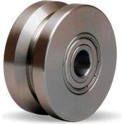 """Stainless V-Groove Wheel 3x1-3/8 1/2"""" Ball Bearing"""