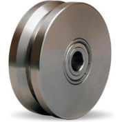 """Stainless V-Groove Wheel 4x1-3/8 1/2"""" Ball Bearing"""