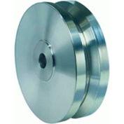 """Stainless V-Groove Wheel 4x1-3/8 1/2"""" Oilless Bearing"""