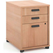 """basyx by HON® Manage Pedestal File, 3 Drawers, 22""""D, Wheat Finish"""