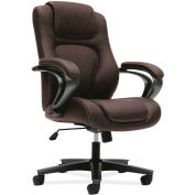basyx® by HON® BSXVL402SB45 Fixed Arm High-Back Managerial Chair, Brown Vinyl