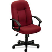 basyx® by HON® HVL600 Series Fixed Loop Arm High-Back Executive Chair, Burgundy Polyester