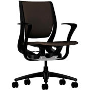 HON® HONRW102ONCU49 Purpose Fixed Arm Mid-Back Task Chair, Espresso Polyester