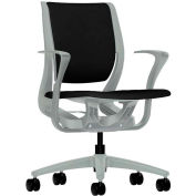 HON® HONRW102PTCU10 Purpose Fixed Arm Mid-Back Task Chair, Black Polyester