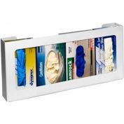 "Horizon Mfg. Quadruple Top Loading Horizontal Plastic Glove Box Dispenser, 11""H x 20""W x 4""D"