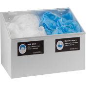 Horizon Mfg. 2-Compartment White Hair Net/Beard Cover/Shoe Cover/Arm Protector Dispenser