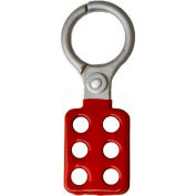 "Horizon Mfg. Lockout Tagout Hasp, 5506, Non-Sparking, 1-1/2"" Opening, Red - Pkg Qty 12"