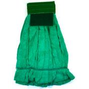 Microworks Microfiber Strip Wet Mop w/Scrubber, Green Medium - 2504S-MFWP-GN