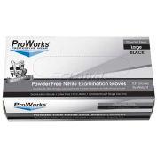 ProWorks® Medical/Exam Nitrile Gloves, 5 Mil, Powder-Free, Black, Large, 100/Box, GL-N105FL
