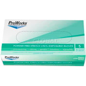 ProWorks® 4 Mil Stretch Vinyl Powder-Free Disposable Gloves, Small, 100/Box, 10 Bxs/Case