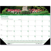 House of Doolittle™ Gardens of the World Photographic Monthly Desk Pad Calendar, 22 x 17, 2021