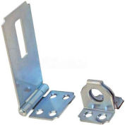 "Ultra Hardware Fixed Staple Safety Hasp, Steel, 4-1/2""L, Zinc Finish - Pkg Qty 12"