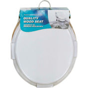 AquaPlumb® CTS100W Round Wood Toilet Seat W/ Cover, White - Pkg Qty 6