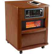 Comfort Zone® Premium Infrared Heater Wood Cabinet CZ2062W Walnut W/ Remote 750/1500W 5120 BTU