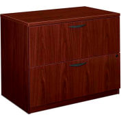 "basyx® BL Laminate Two-Drawer Lateral File, 35-1/2""W x 22""D x 29""H Mahogany"