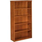 "basyx® BW Series Bookcases, Five-Shelf, 35-5/8""W x 13""D x 66""H Bourbon Cherry"