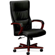 HON® - Basyx® VL844 High-Back Swivel/Tilt Chair, Leather Seat,  Mahogany Frame