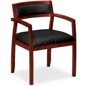 HON® - Basyx® VL852 Wood Guest Chair, Leather Seat,  Mahogany Frame