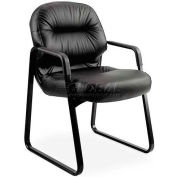 HON® - Pillow-Soft® 2090 Series, Leather Guest Arm Chair, Black