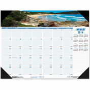House of Doolittle™ Coastlines Photographic Monthly Desk Pad Calendar, 18-1/2 x 13, 2019