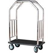 Hospitality 1 Source Estate Bellman Cart, Curved Uprights, Black Carpet