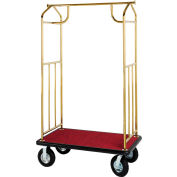 Hospitality 1 Source Brass Transporter Bellman Cart, Straight Uprights, Gray Carpet, Black Bumper