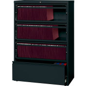 "Hirsh Industries® HL8000 Series® 36""W Receding Drawer Front Lateral File 4-Drawer - Black"