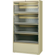 "Hirsh Industries® HL8000 Series® 36""W Receding Drawer Front Lateral File 5-Drawer - Putty"