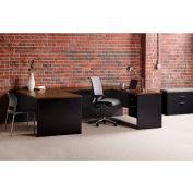 Hirsh Industries® Modular Steel Desk Bridge - 48 x 24 - Black/Walnut