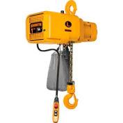 NER Dual Speed Electric Chain Hoist - 1/4 Ton, 15' Lift, 53/9 ft/min, 460V