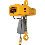 NER Electric Chain Hoist w/ Hook Suspension - 2 Ton, 15' Lift, 7 ft/min, 460V