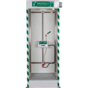 Justrite® Combo Emergency Cubicle Shower, Shower and Covered ABS Eye/Face Wash Bowl, 30180
