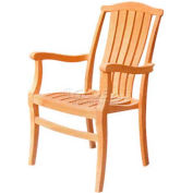 Hi-Teak Outdoor Paficica Stacking Armchairs, Unfinished Teak Wood - Pkg Qty 4