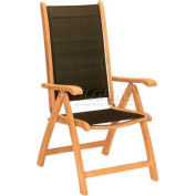 Hi-Teak Outdoor Black Pearl Recliner Chair, Unfinished Teak Wood