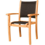 Hi-Teak Outdoor Black Pearl Stacking Armchair W/Textilene Fabric Back & Seat, Unfinished Teak Wood